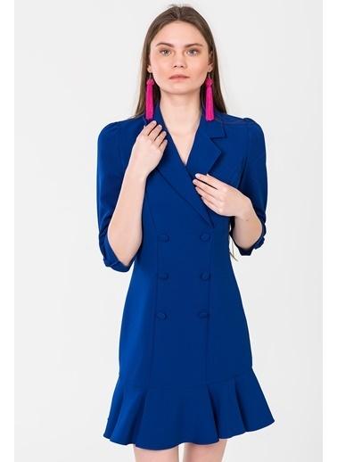 İroni Mini Ceket Elbise Saks